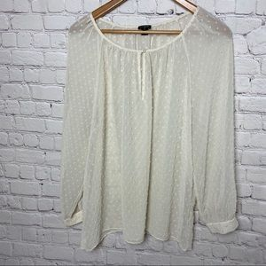 J.Crew Factory Off- White Chenille Dot Blouse XL